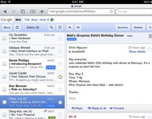 gmail on ipad